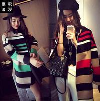#828 Women formal European style fall winter color block red green stripe long outerwear coat Blazers blazer blaser feminino