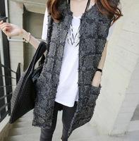Women's women's 2014 autumn plaid tassel pocket straight vest outerwear
