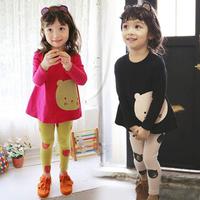 2014 autumn girls clothing child long-sleeve T-shirt legging set tz-1068