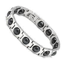 Famous Luxury Brand Fashion Titanium Germanium Magnetic Power stainless steel shamballa charm bracelet bangle hand chain for men(China (Mainland))