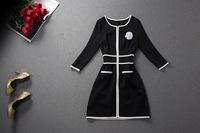 2014 autumn women's small black sexy slim one-piece dress three-dimensional flower decoration
