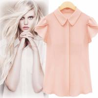 2014 fashion summer plus size chiffon shirt women short-sleeve slim all-match top peter pan collar shirt