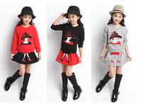 2014 children's spring and autumn clothing female child autumn sweatshirt dress set twinset