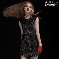 High quality genuine leather cutout one-piece dress sheepskin leather tank dress
