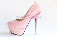 Newest lady's autumn ultra high heels single  wedding shoes, platform  bridal shoes pink thin heels princess shoes size 34-39