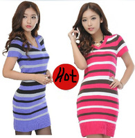 Hot sale 2014 new Spring Autumn dress women  Striped Sweater Pullover bodycon dress knitted red and purple slim causual Vestido