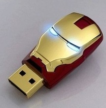 Free Shipping Hot Sale Lron Man USB Flash Drive USB Flash Disk Gift Diamond Crystal Pen Drive 2GB 4GB 8GB 16GB 32GB 64GB USB2.0(China (Mainland))