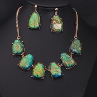 Fashion jewelry luxurious gem set multicolour short design necklace 4 color green orange blue purple wedding jewelry