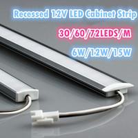 1M SMD 5050 Super bright Recessed LED Kitchen Cabinet Rigid Strip Light Bar DC12V Wardrobe led hard light strip 30/60/72 LEDS/M