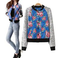 2014 autumn fashion stand collar jacket female print patchwork baseball uniform slim short jacket