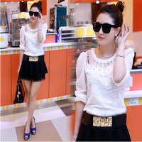 2014 new fashion lace beading design women's long-sleeve chiffon shirt basic shirt women's plus size lace tops