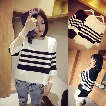 2014 женщин полосатый свитер три четверти рукавом широкий шею свитер черный и белый