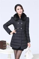 Wadded jacket female cotton-padded jacket down fur collar medium-long cotton-padded jacket plus size outerwear