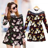 A-line skirt autumn 2014 print POLO collar slim long-sleeve women's one-piece dress