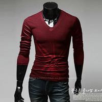 2014 men's clothing slim print long-sleeve T-shirt men printed long sleeve t-shirts