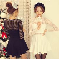 2014 summer fashion normic organza shu wen patchwork long-sleeve slim high waist one-piece dress gauze