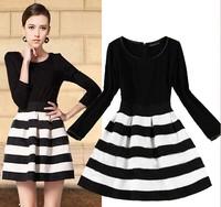 2014 Autumn Winter dresses fashion slim Women dress knitted patchwork Striped long-sleeve Plus size Plus velvet Casual dress