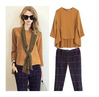 2014 set fashion loose top fashion plaid ankle length trousers