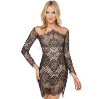 new fashion women short bodycon dress luxury lace gauze patchwork long sleeve o neck cutout dress sexy hollow party beach dress