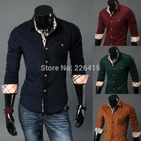 Free Shipping Fashion Men's 100% cotton casual shirt corduroy long-sleeve mens dress shirts slim fit camisa social masculina