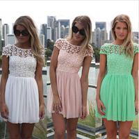 2014 New summer dress eenschin embroidery crochet lace pleated tulle patchwork girl chiffon dress women fashion 8697-8058