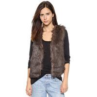 2014 Winter Women's Fashion Beautiful Soft Fine Stripe Double Pocket Slim Waist Invisible Fastener Faux Fur Vest
