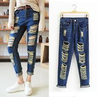new fashion jeans hole loose BFdenim harem pants harem pants female ankle length trousers women's jeans women high waist jeans