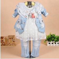 2014 Children's clothing child spring and autumn  denim piece set child set(coat+shirt+pant)