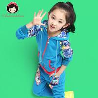 Children's clothing female child autumn 2014 3 - 12 child spring and autumn sports set child autumn