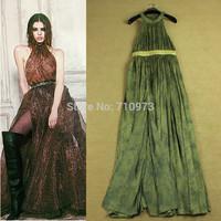 High Quality Fashion Leopard Print 2014 Women's Halter-neck Strapless Sexy Elegant Dresses Off The Shoulder Maxi Bib Dress