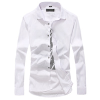 Free shipping 2014 New Arrival Long Sleeve Shirts For Men Fashion turn-down collar Leisure cultivate one's morality multi colors