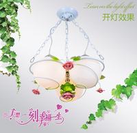Simple elegance 3 bulbs LED ceiling lamp,child real Rose flower and leaves pendant lamps lantern,white Glass ceiling lights E27