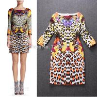2014 Runway Dress Women's High Quality Dresses European & America Style Three Quarter Leopard Print Elegant Dress Free Shipping