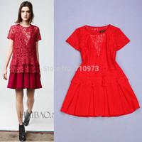 High Fashion Ladies 2014 Summer Casual Two Piece Red Green Dress Lace shirt /Smock + Sleeveless Tank Dress 2 Piece Set Women