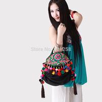 Free shipping! National trend embroidered bag handmade floccular portable one shoulder cross-body women's handbag bell