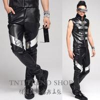 Fashion mirror decoration leather patchwork men's casual pants costume