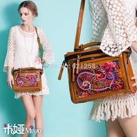 Free shipping! New arrival embroidery banquet bag handbag shoulder bag messenger bag faux leather PU bag