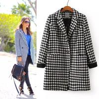 2014 houndstooth overcoat medium-long suit collar woolen outerwear plaid wool coat female