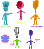 5 PCS Cartoon Silicone cozinha cooking tools kitchen accessories spoon whisk pastry brush measuring cup scraper