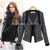 new 2014 autumn fashion women's knitted blazers elegant design long sleeve cardigan blazer short jacket coat female outerwear