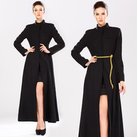2014 woolen lengthen overcoat slim expansion bottom stand collar outerwear female thermal black
