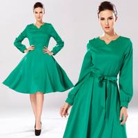 Fashion autumn V-neck slim medium-long one-piece dress female with belt