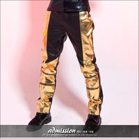 2014 Original design gold color block men's brief pants fashion black leather trousers