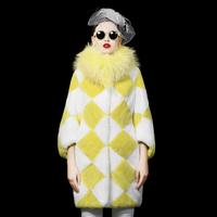 2014 Fashion  Fur Rex Babbit hair super large Raccoon medium-long wrist-length  Fur Coat NEW Outwear