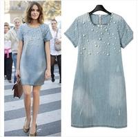 2014 Women Denim Dress Loose Short Sleeve Jeans Dress O Neck Casual Washed Beaded Elegant Evening Party Lady Dresses 5XL