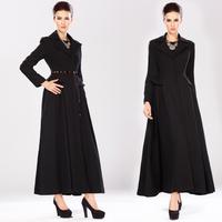 2014 wool coat slim lotus leaf expansion bottom outerwear lengthen overcoat black