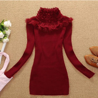 Women Lace Turtleneck Sweater Women's basic Long-Sleeve Slim Sweater Red And Black