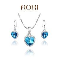 accessories Roxi fashion set jewelry platinum blue stud earring necklace set birthday gift