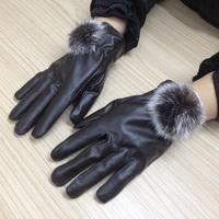 Autumn and winter full PU women's thermal gloves rabbit fur gloves fur finger plus velvet thickening waterproof gloves