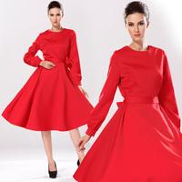 Fashion 2014 autumn and winter women slim dress o-neck long-sleeve elegant red expansion bottom one-piece dress